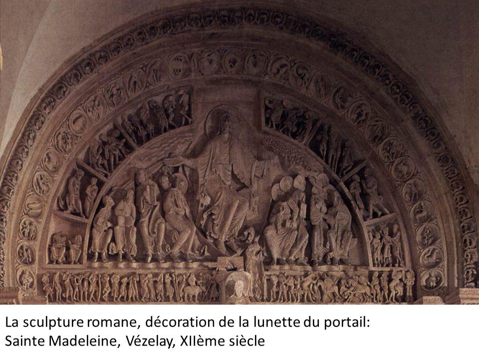 de la lunette La sculpture romane, décoration de la lunette du portail: Sainte Madeleine, Vézelay, XIIème siècle.