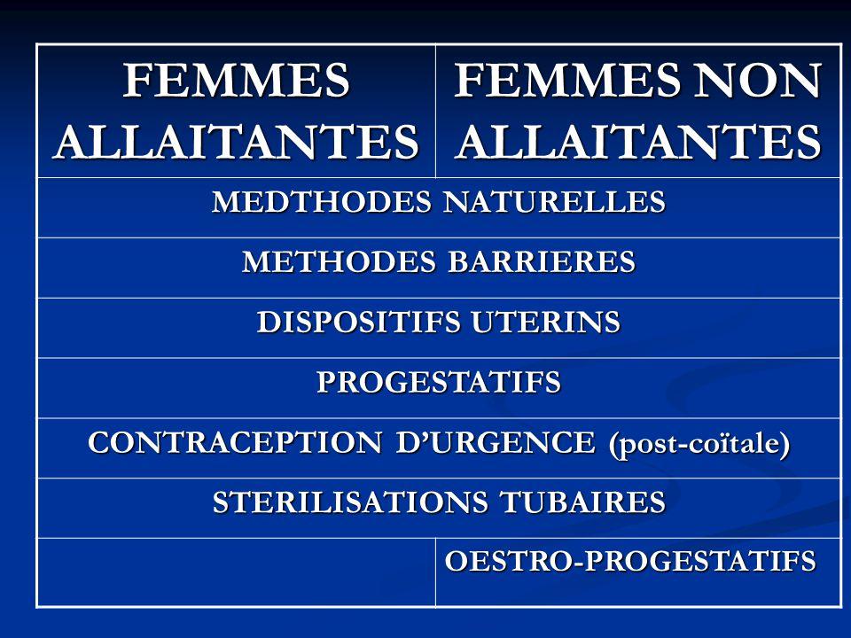 FEMMES ALLAITANTES FEMMES NON ALLAITANTES