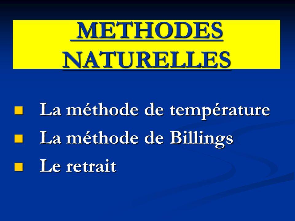 METHODES NATURELLES La méthode de température La méthode de Billings