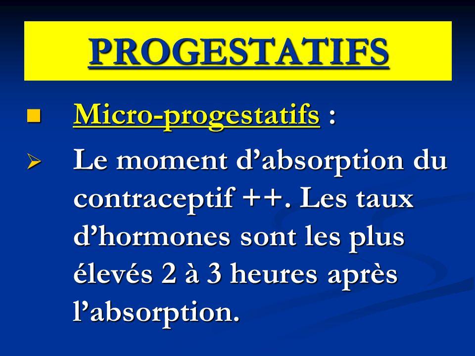 PROGESTATIFS Micro-progestatifs :