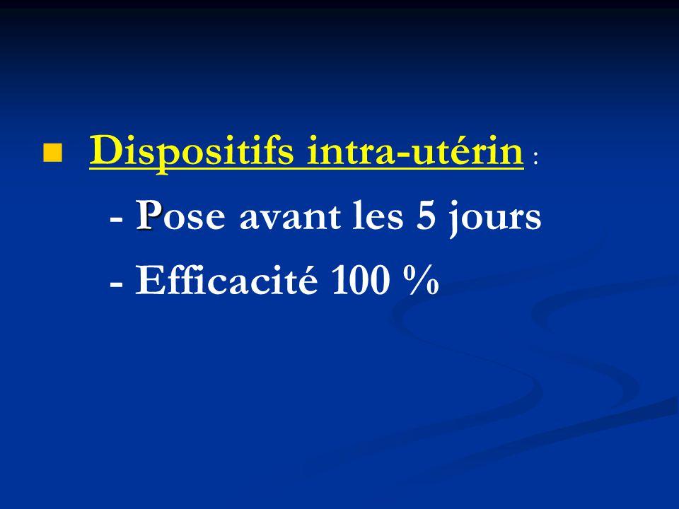 Dispositifs intra-utérin : - Efficacité 100 %
