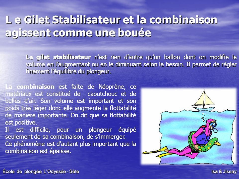 L e Gilet Stabilisateur et la combinaison agissent comme une bouée