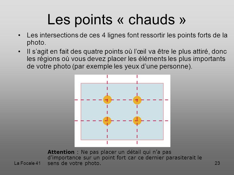 Les points « chauds » Les intersections de ces 4 lignes font ressortir les points forts de la photo.