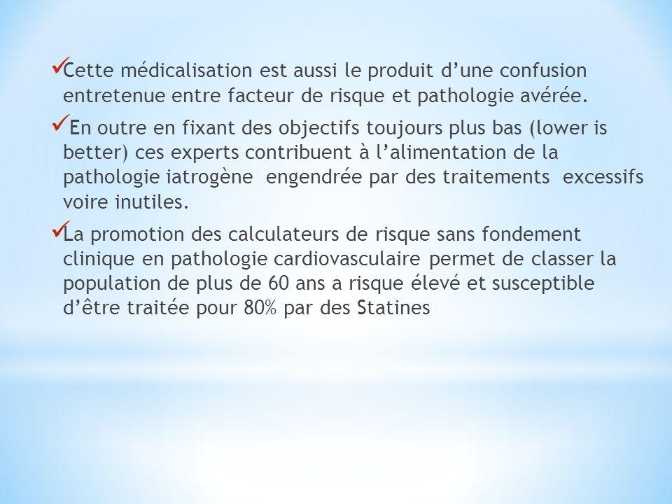 Cette médicalisation est aussi le produit d'une confusion entretenue entre facteur de risque et pathologie avérée.