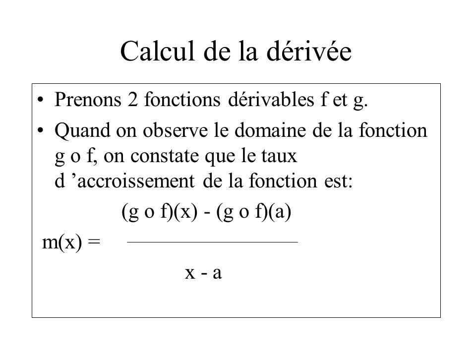 Calcul de la dérivée Prenons 2 fonctions dérivables f et g.
