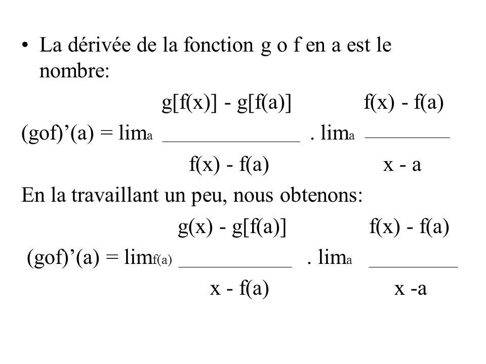 La dérivée de la fonction g o f en a est le nombre:
