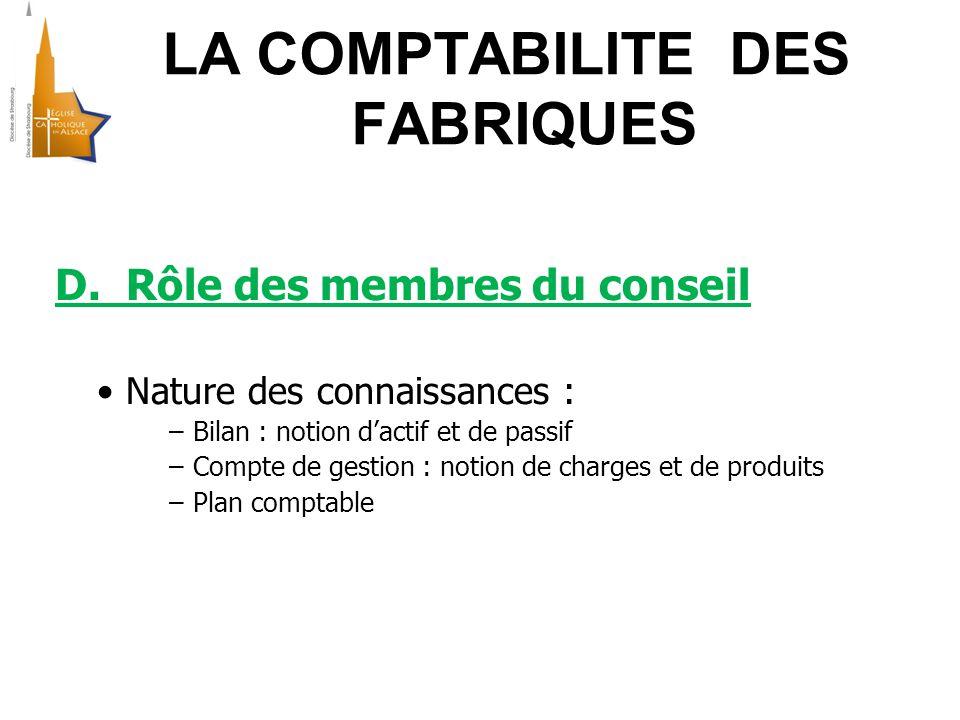 LA COMPTABILITE DES FABRIQUES