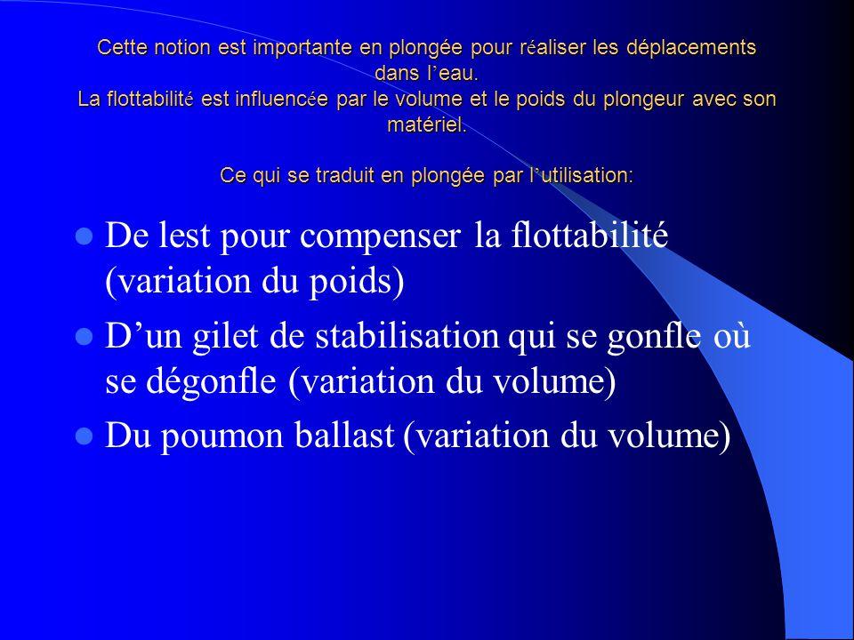 De lest pour compenser la flottabilité (variation du poids)