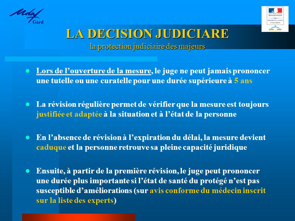 LA DECISION JUDICIARE la protection judiciaire des majeurs