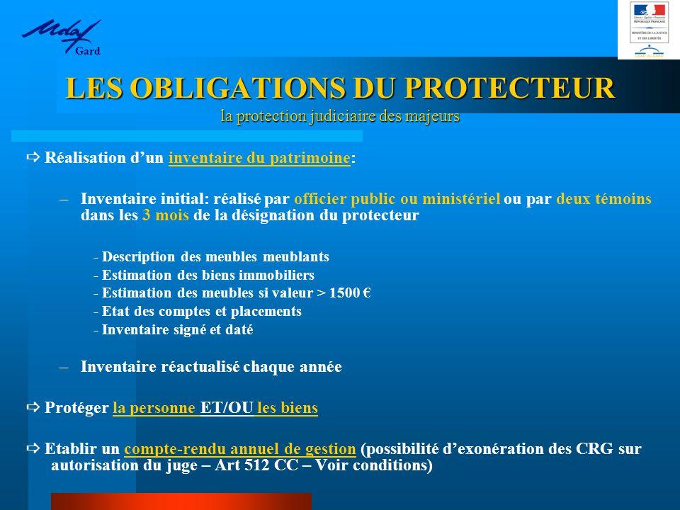 LES OBLIGATIONS DU PROTECTEUR la protection judiciaire des majeurs