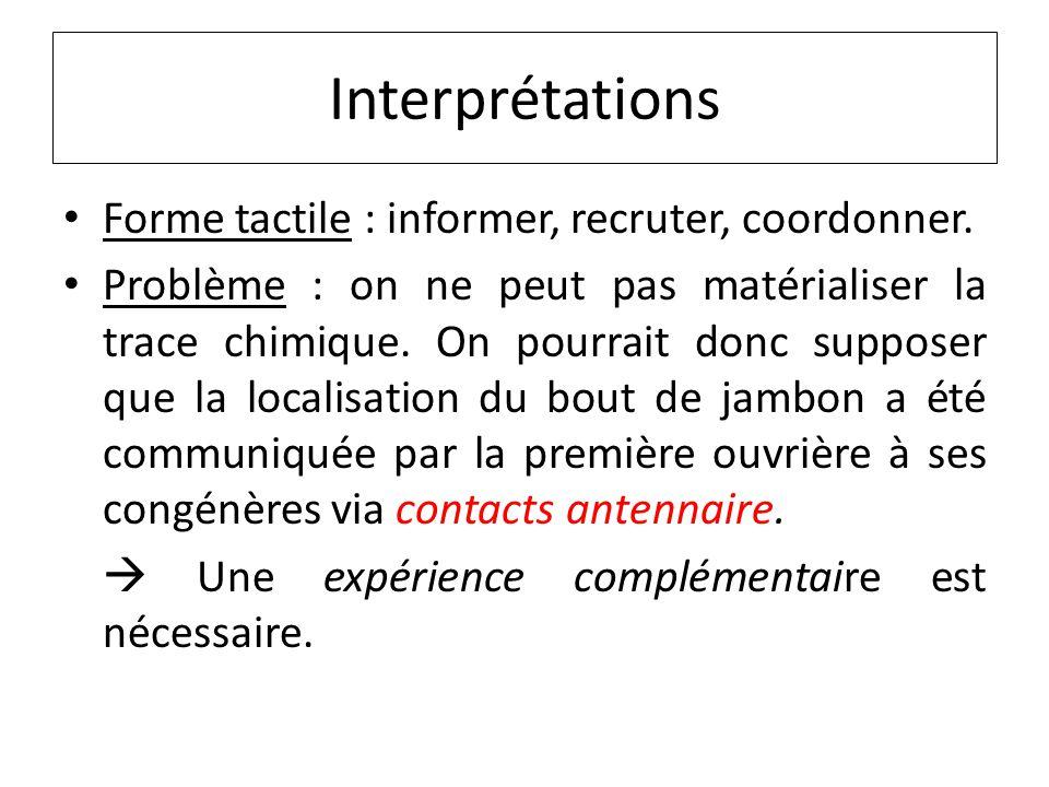 Interprétations Forme tactile : informer, recruter, coordonner.
