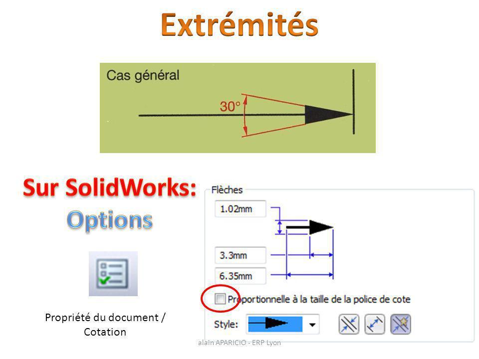 Extrémités Sur SolidWorks: Options Propriété du document / Cotation