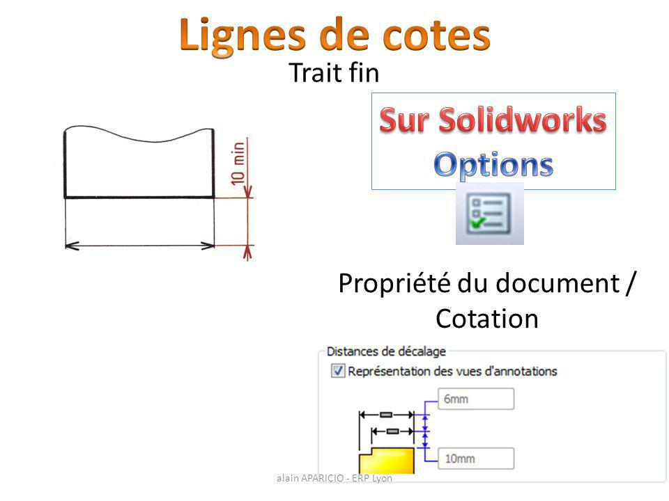 Lignes de cotes Sur Solidworks Options Trait fin