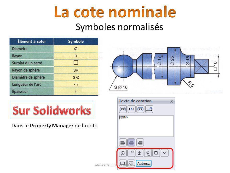 La cote nominale Sur Solidworks Symboles normalisés