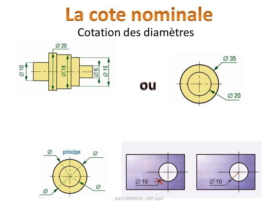 La cote nominale Cotation des diamètres ou alain APARICIO - ERP Lyon