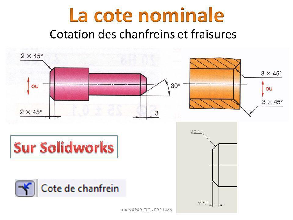 La cote nominale Sur Solidworks Cotation des chanfreins et fraisures