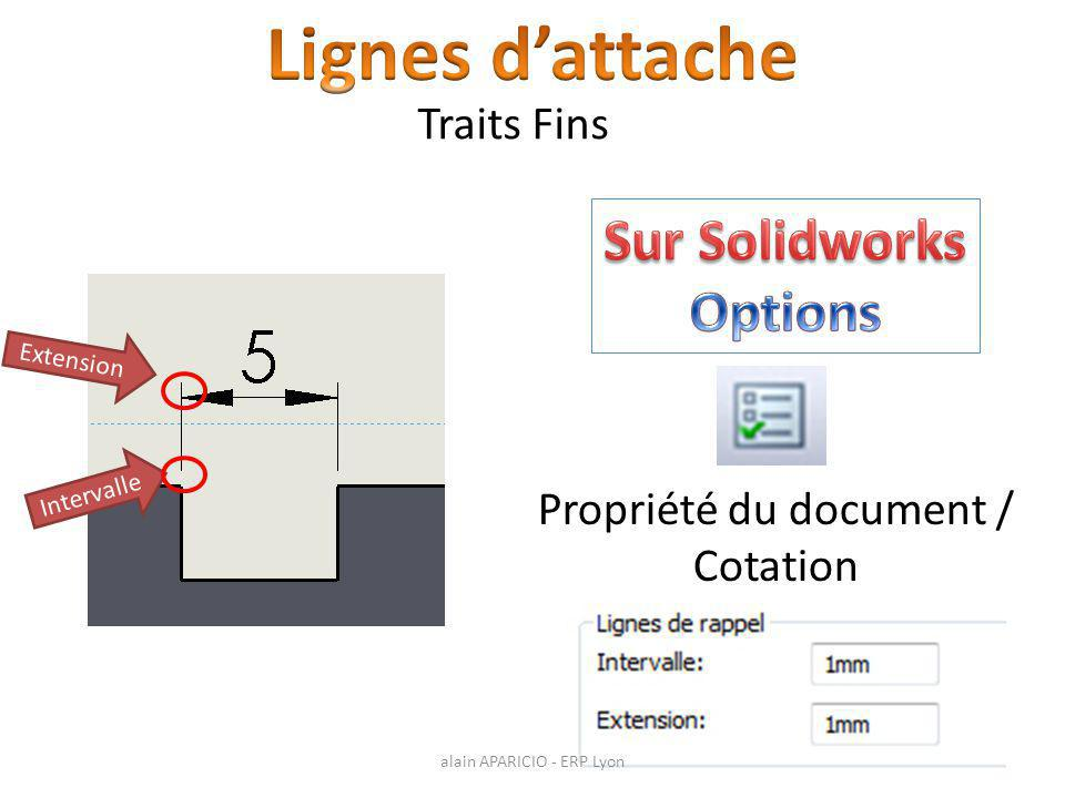 Lignes d'attache Sur Solidworks Options Traits Fins