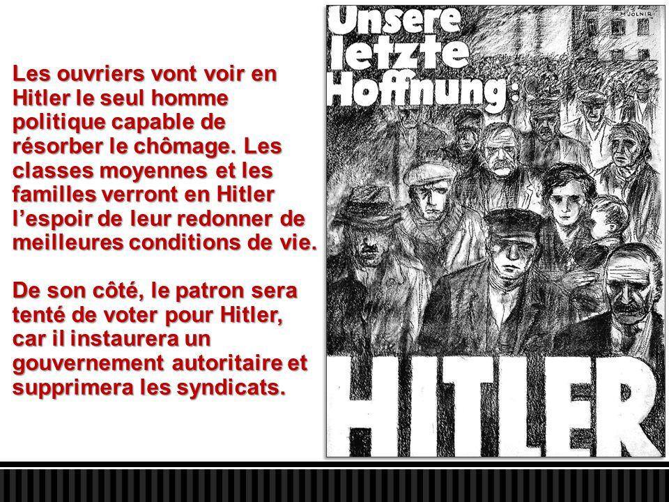 Les ouvriers vont voir en Hitler le seul homme politique capable de résorber le chômage. Les classes moyennes et les familles verront en Hitler l'espoir de leur redonner de meilleures conditions de vie.