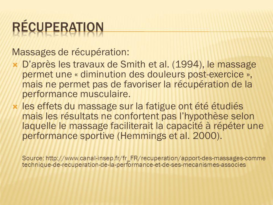 récuperation Massages de récupération: