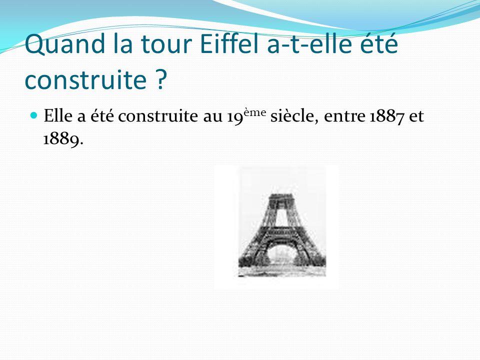 Quand la tour Eiffel a-t-elle été construite