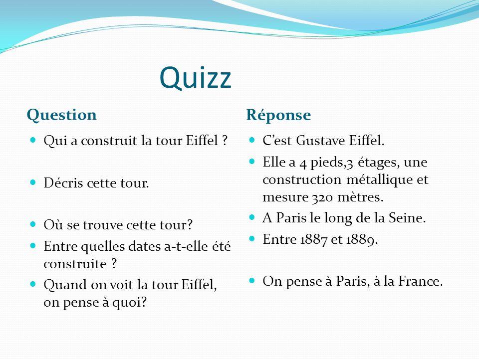Quizz Question Réponse Qui a construit la tour Eiffel