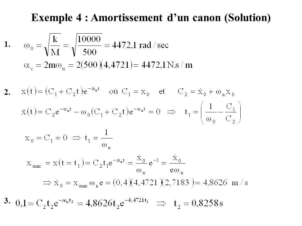 Exemple 4 : Amortissement d'un canon (Solution)