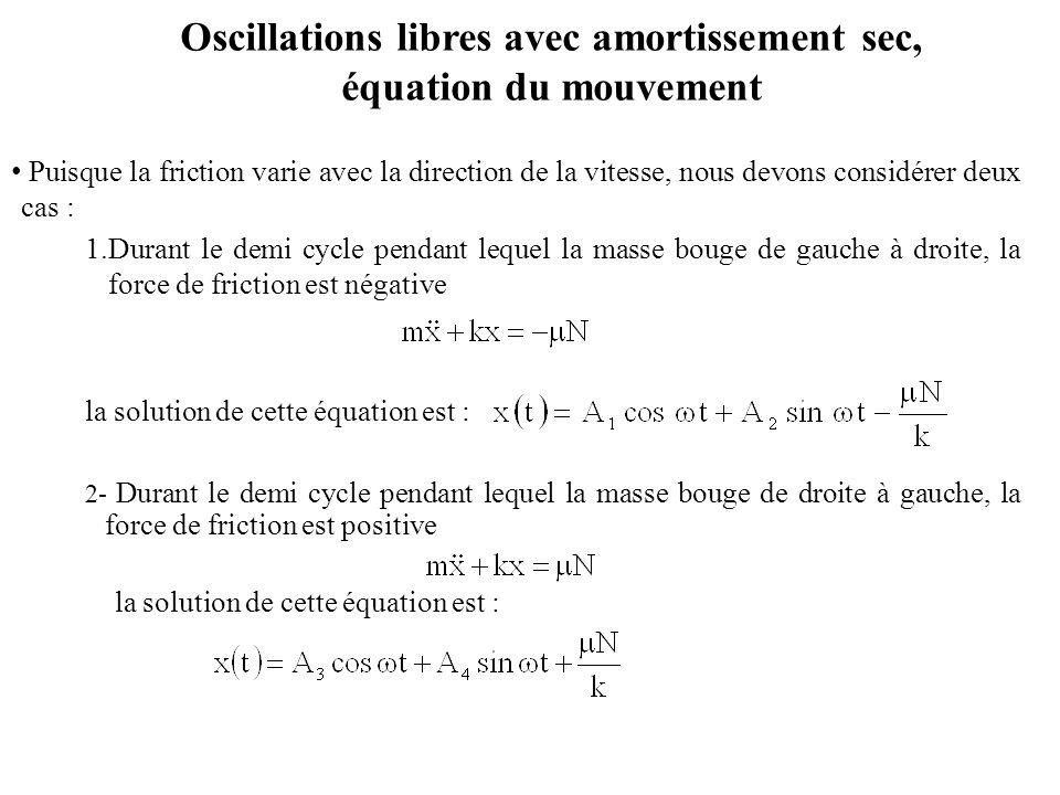 Oscillations libres avec amortissement sec, équation du mouvement