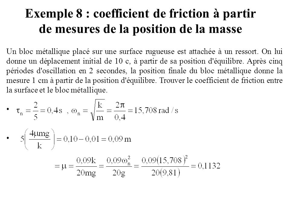 Exemple 8 : coefficient de friction à partir de mesures de la position de la masse