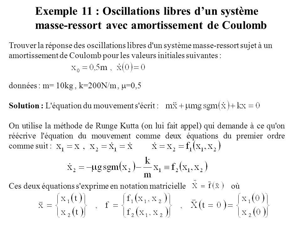 Exemple 11 : Oscillations libres d'un système masse-ressort avec amortissement de Coulomb