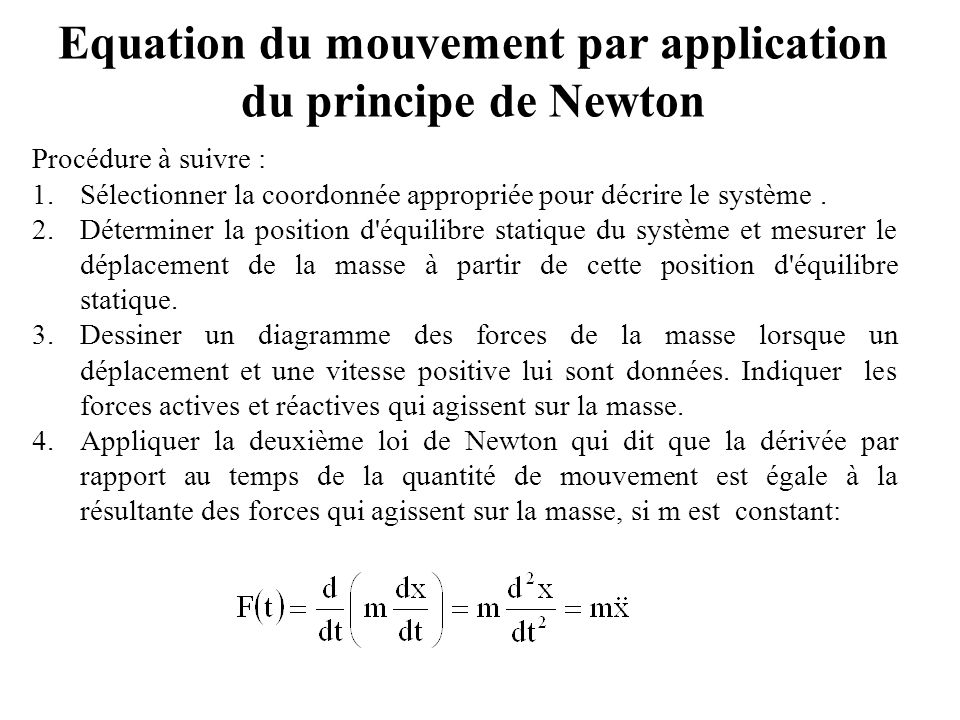 Equation du mouvement par application du principe de Newton