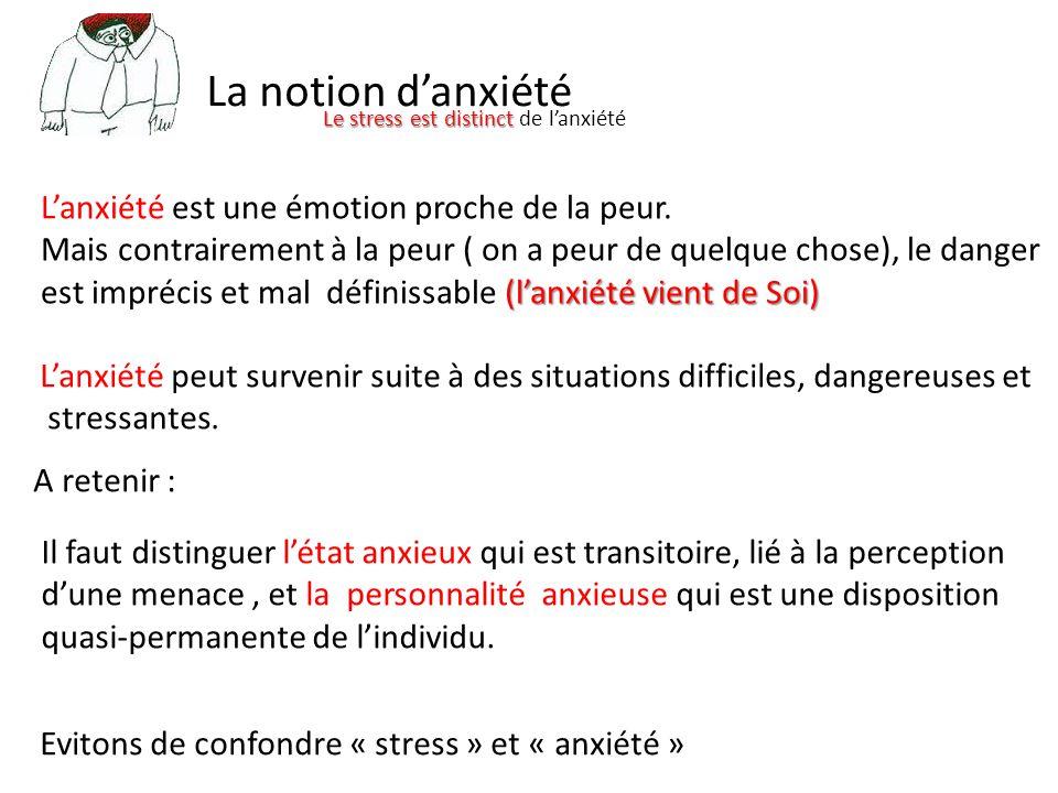 La notion d'anxiété L'anxiété est une émotion proche de la peur.