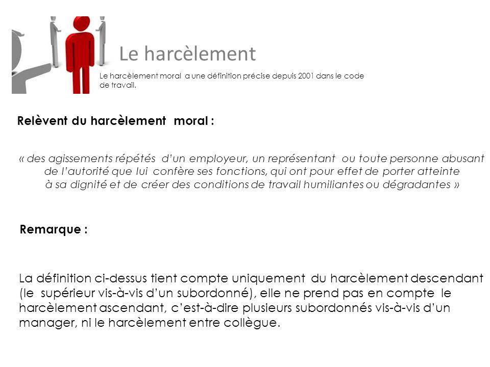 Le harcèlement Relèvent du harcèlement moral : Remarque :