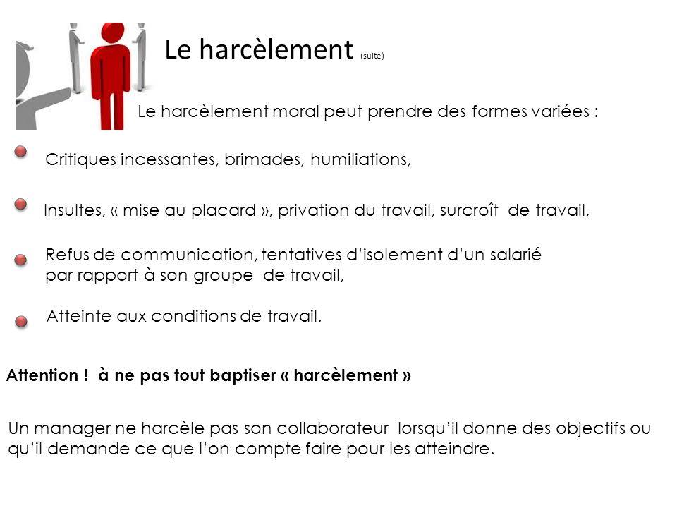 Le harcèlement (suite)