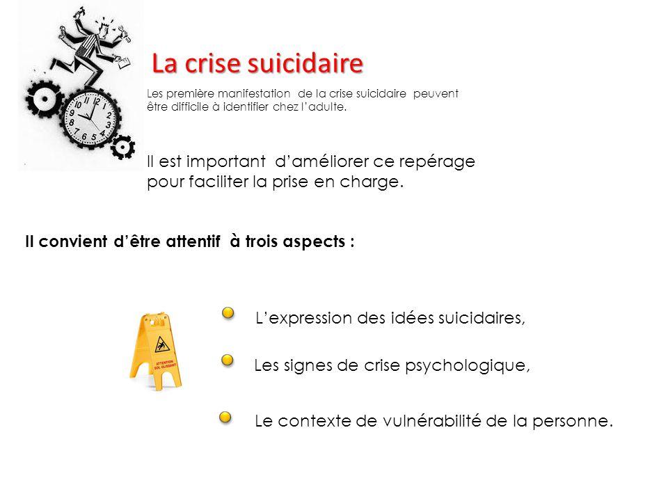 La crise suicidaire Il est important d'améliorer ce repérage