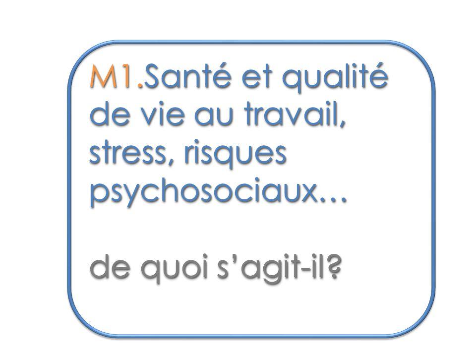 M1.Santé et qualité de vie au travail, stress, risques psychosociaux…