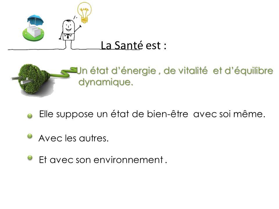 La Santé est : Un état d'énergie , de vitalité et d'équilibre