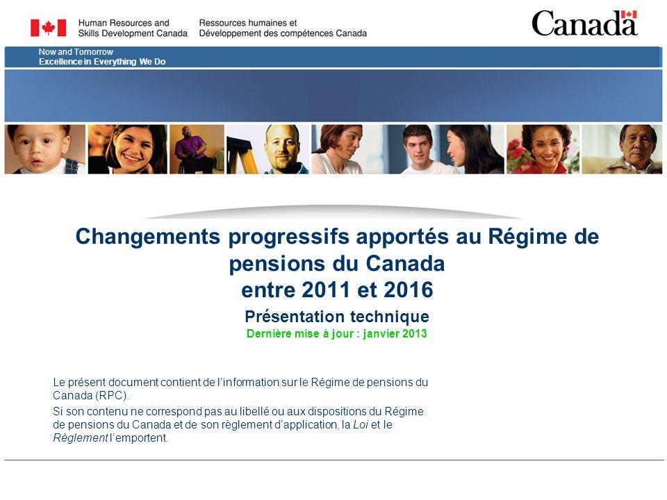 Changements progressifs apportés au Régime de pensions du Canada entre 2011 et 2016 Présentation technique Dernière mise à jour : janvier 2013