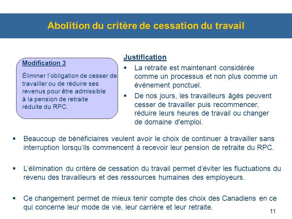 Abolition du critère de cessation du travail