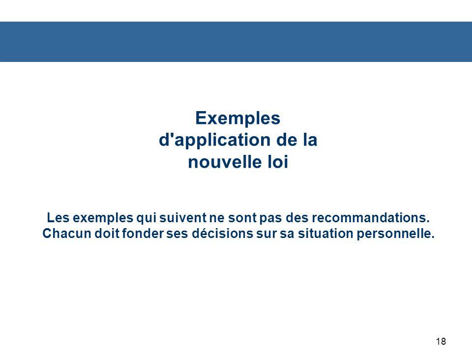 Exemples d application de la nouvelle loi Les exemples qui suivent ne sont pas des recommandations.