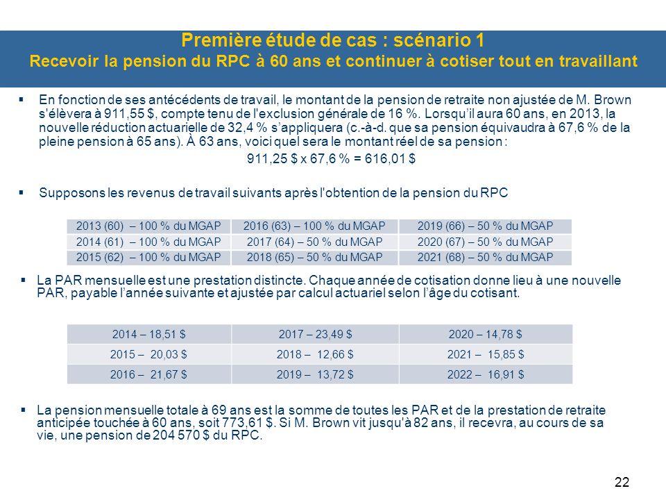 Première étude de cas : scénario 1 Recevoir la pension du RPC à 60 ans et continuer à cotiser tout en travaillant