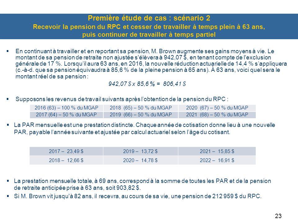 Première étude de cas : scénario 2 Recevoir la pension du RPC et cesser de travailler à temps plein à 63 ans, puis continuer de travailler à temps partiel