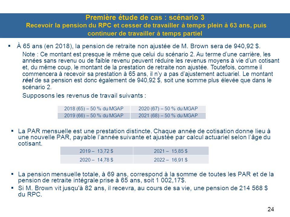 Première étude de cas : scénario 3 Recevoir la pension du RPC et cesser de travailler à temps plein à 63 ans, puis continuer de travailler à temps partiel