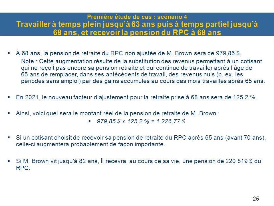 Première étude de cas : scénario 4 Travailler à temps plein jusqu'à 63 ans puis à temps partiel jusqu'à 68 ans, et recevoir la pension du RPC à 68 ans