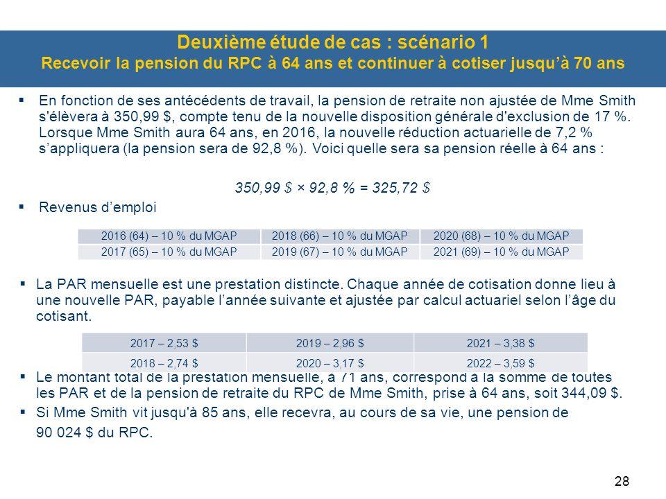 Deuxième étude de cas : scénario 1 Recevoir la pension du RPC à 64 ans et continuer à cotiser jusqu'à 70 ans
