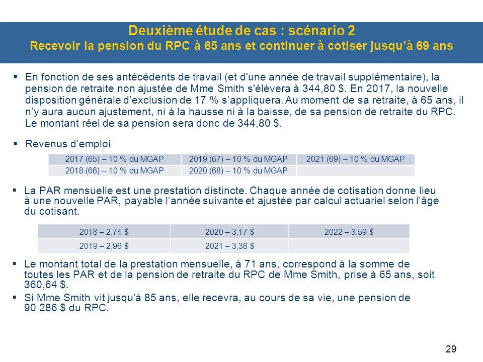 Deuxième étude de cas : scénario 2 Recevoir la pension du RPC à 65 ans et continuer à cotiser jusqu'à 69 ans