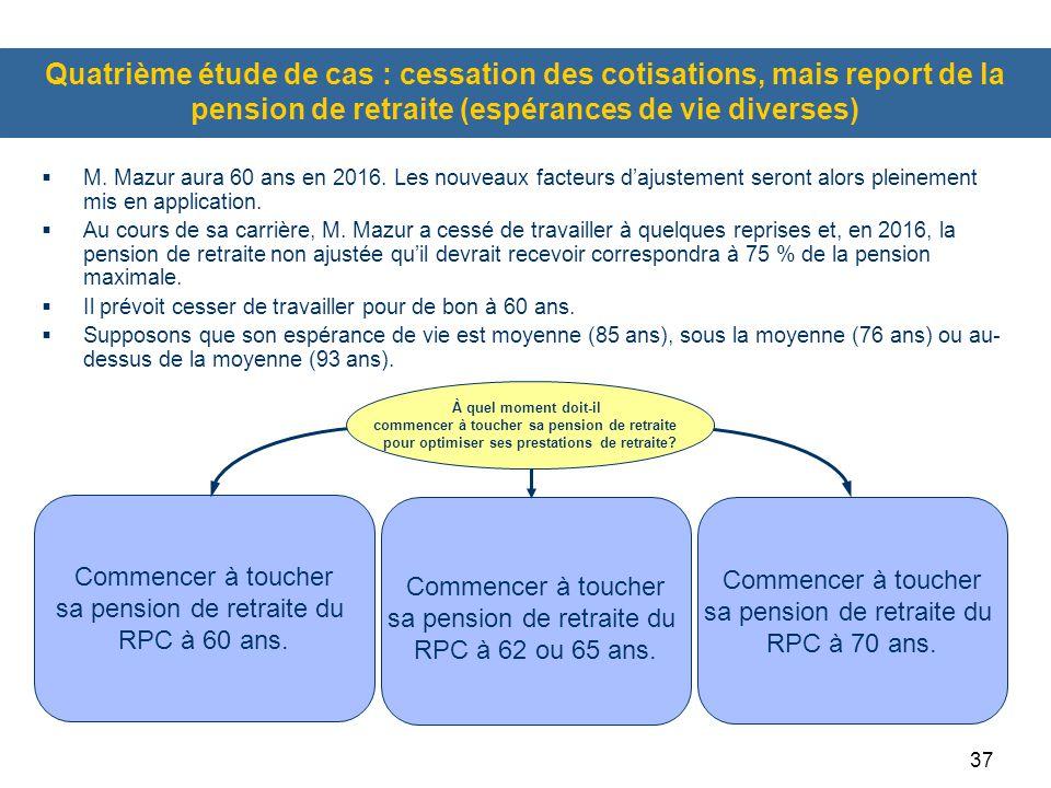 Quatrième étude de cas : cessation des cotisations, mais report de la pension de retraite (espérances de vie diverses)