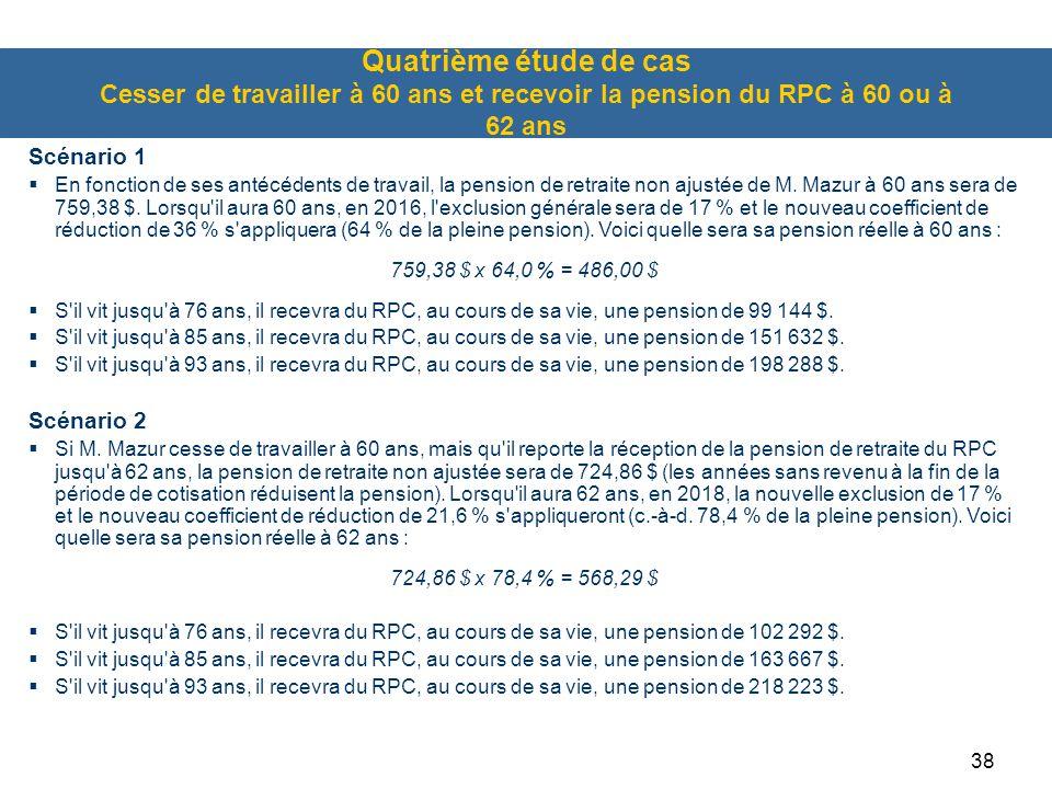 Quatrième étude de cas Cesser de travailler à 60 ans et recevoir la pension du RPC à 60 ou à 62 ans