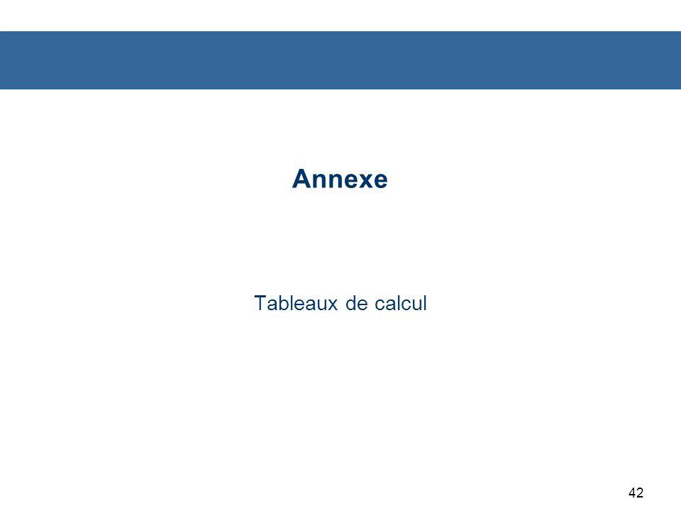 Annexe Tableaux de calcul