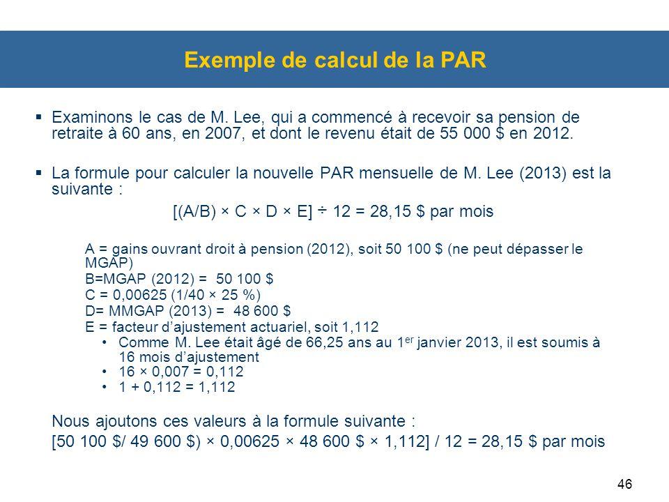 Exemple de calcul de la PAR