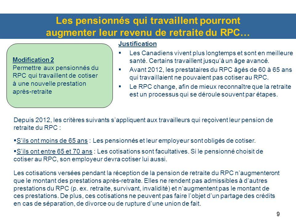 Les pensionnés qui travaillent pourront augmenter leur revenu de retraite du RPC…